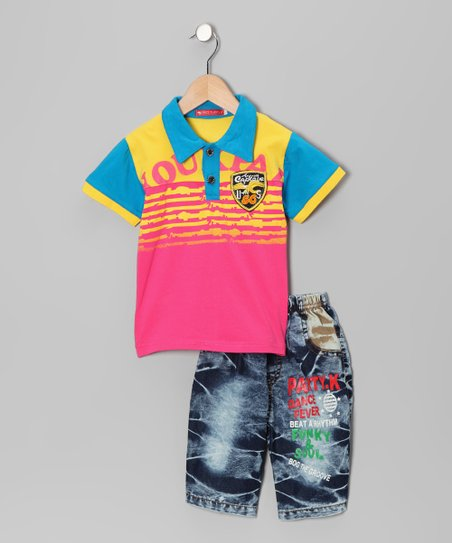 Blue & Pink Polo & Jeans - Toddler & Boys