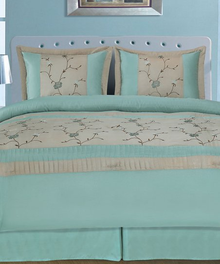 Blue Embroidered Amelia Comforter Set