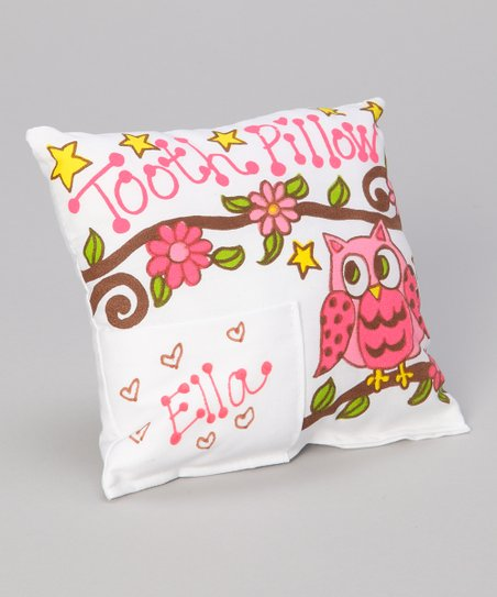 Pink Owl Personalized Tooth Pillow
