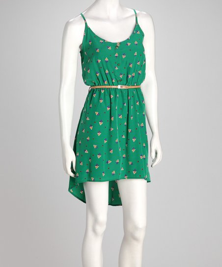 Green Triangle Belted Hi-Low Dress