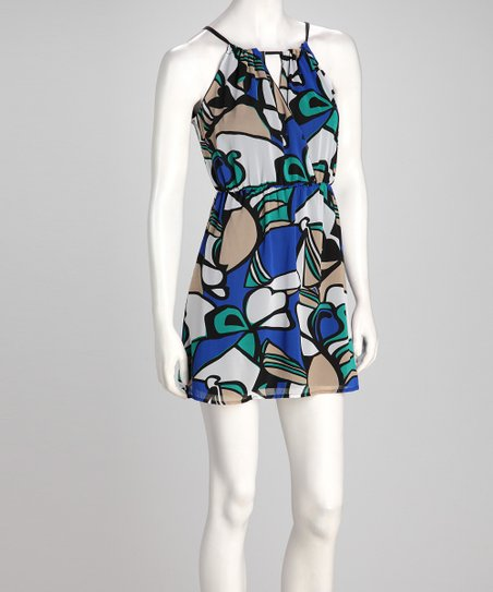 Blue & White Abstract Dress