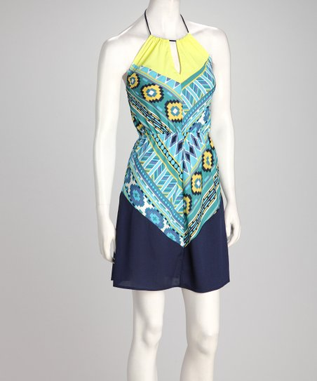 Yellow & Blue Geometric Halter Dress