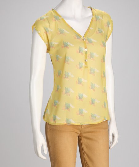 Yellow Geometric Sleeveless Top