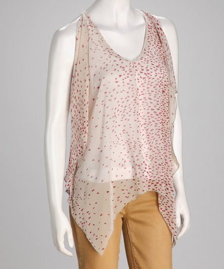 Ivory Splash Dot Sheer Sidetail Top
