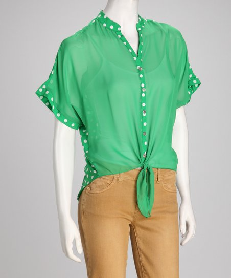 Green Polka Dot Hi-Low Button-Up Top