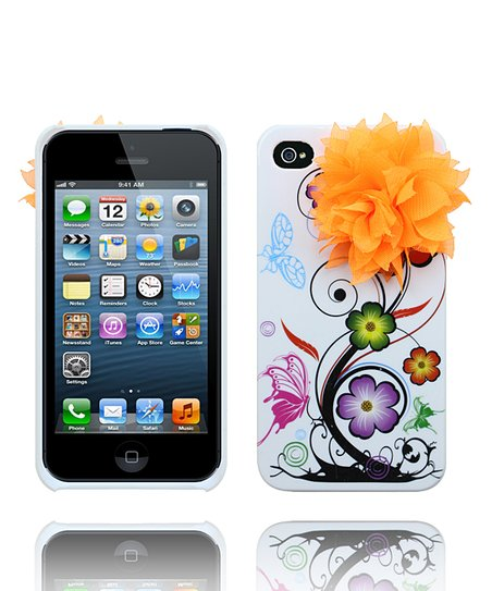 Orange &amp; White Spring Flower Case for iPhone 4/4S