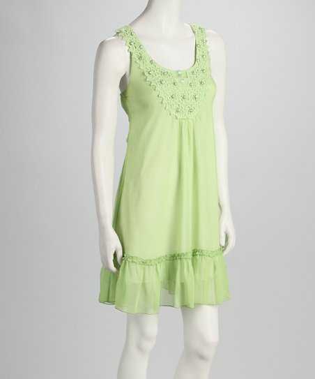 Green Beaded Yoke Dress