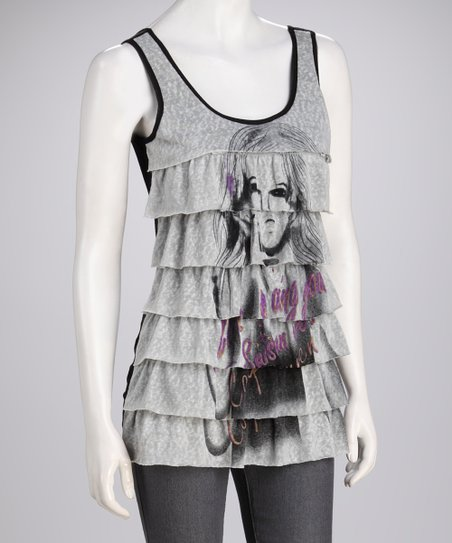 Gray Tiered Sleeveless Tank