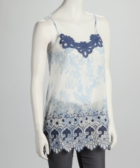 Blue & White Crocheted Detail Tank
