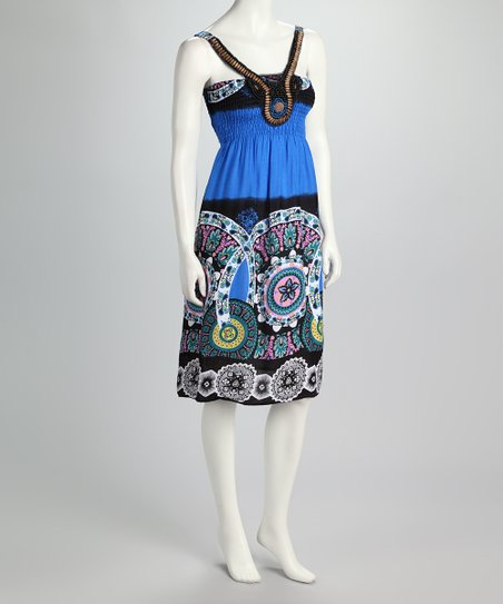 Blue &amp; Black Medallion Shirred Dress