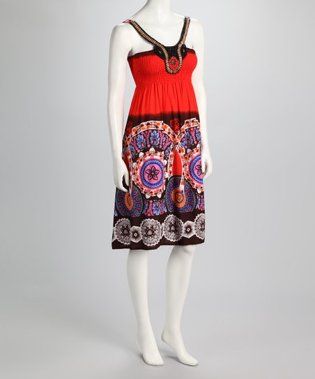 Red & Black Medallion Shirred Dress