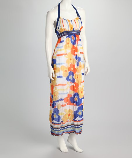 Blue & Ecru Floral Halter Dress
