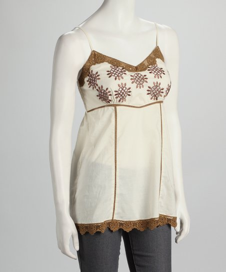 Ecru &amp; Brown Embroidered Dress