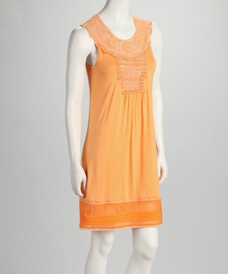 Orange Crocheted Yoke Dress
