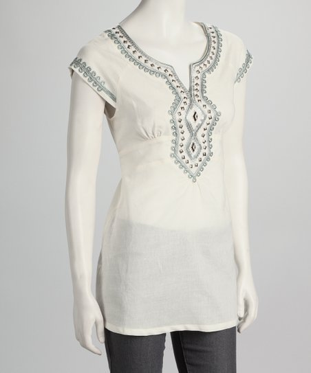 Ecru Embroidered Tunic