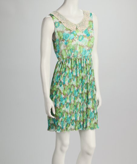 Green & Blue Pleated Dress