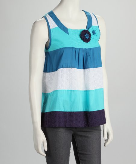 Aqua & White Stripe Tank