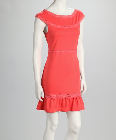 Orange Boat Neck Dress