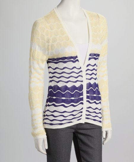 Yellow &amp; Navy Wavy Stripe Cardigan