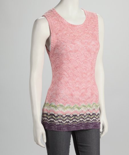 Pink &amp; Lime Knit Sleeveless Top