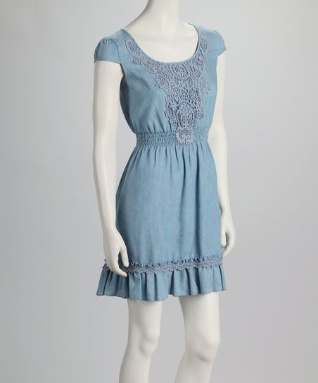 Denim Blue Shirred-Waist Dress