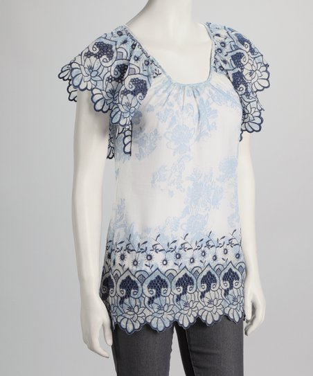 Blue & White Angel-Sleeve Top