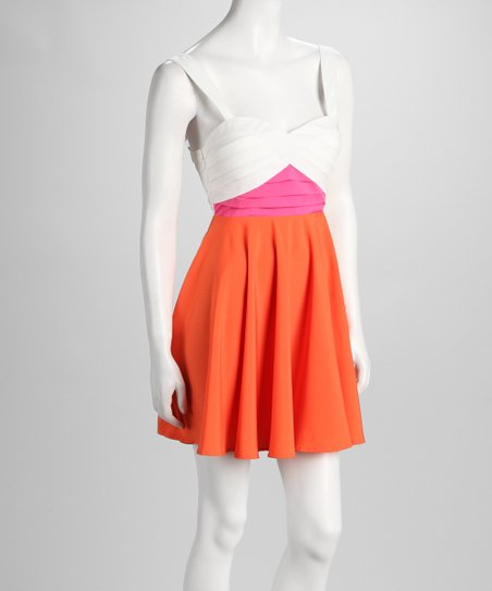Pink & Orange Sweetheart Dress