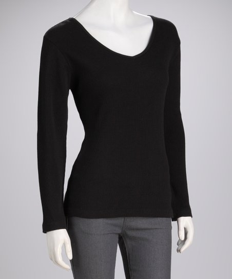 Black Knit Long-Sleeve Top