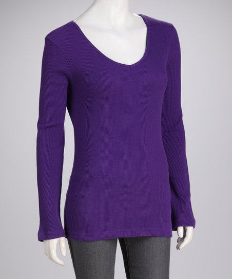 Purple Knit Long-Sleeve Top