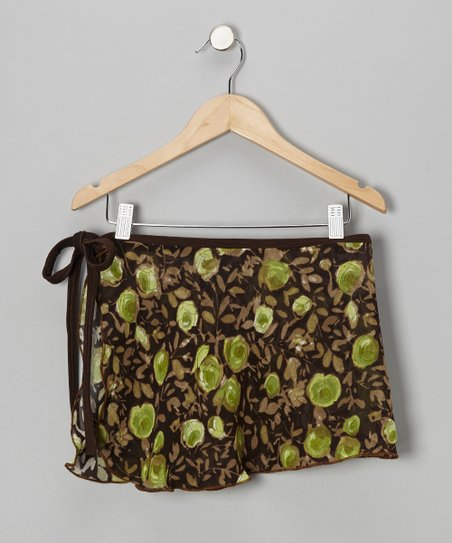 Brown & Green Rose Sheer Tie Skirt - Girls