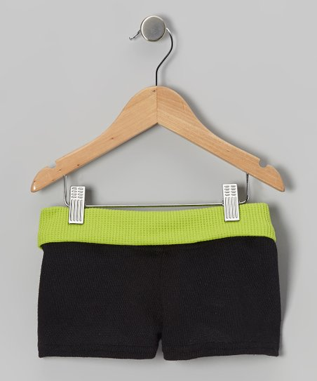 Black & Lime Sweater Shorts – Girls