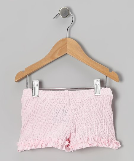 Baby Pink Weave Ruffle Shorts - Girls