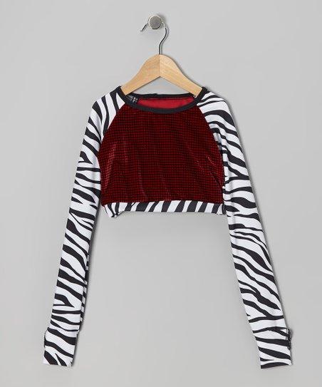White & Black Zebra Crop Top - Girls