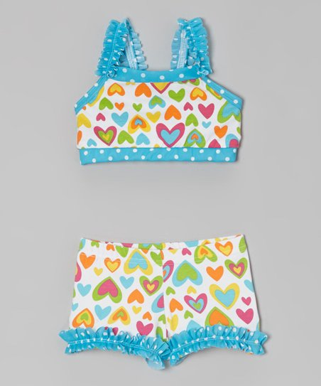 Turquoise & Green Hearts Sports Bra & Shorts - Girls