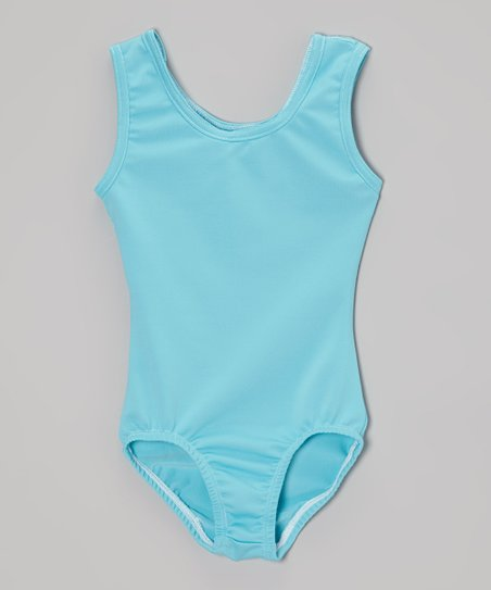 Turquoise Lace Back Leotard - Girls