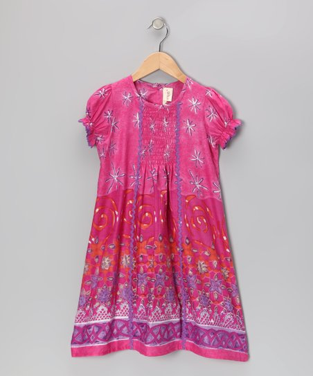 Fuchsia Floral Rickrack Dress - Toddler & Girls