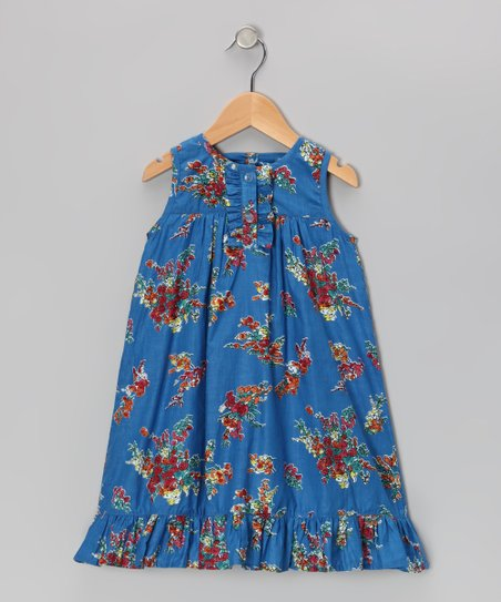Blue Blossom Ruffle Dress - Toddler & Girls