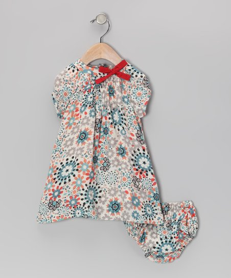 Coral & Blue Floral Dress & Diaper Cover - Infant