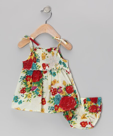 Ivory Floral Dress & Diaper Cover - Infant