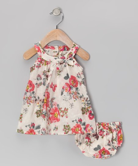 Cream Antique Floral Dress &amp; Diaper Cover - Infant