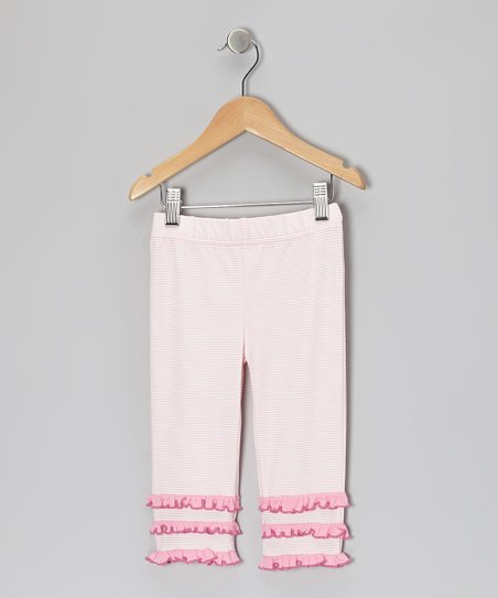 Blushing Bride Stripe Ruffle Capri Pants - Toddler & Girls