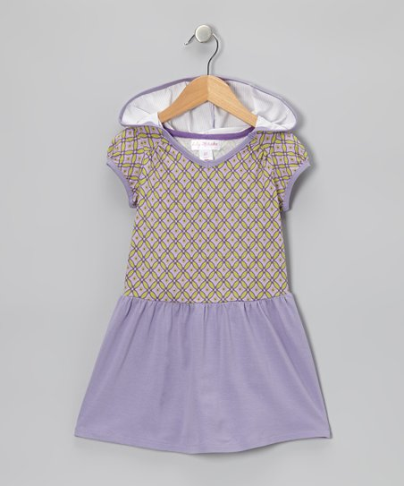Lilac Geometric Hooded Dress - Toddler & Girls
