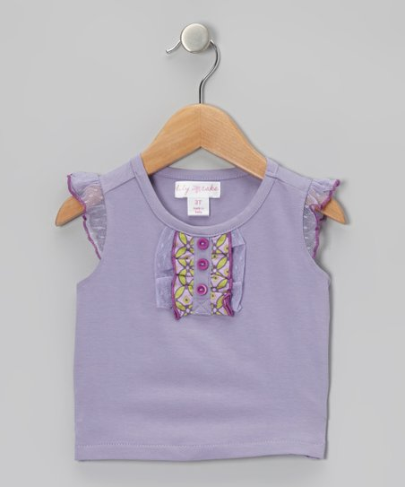 Lavender Ruffle Angel-Sleeve Tee - Toddler & Girls
