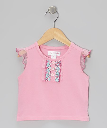 Prism Pink Ruffle Angel-Sleeve Tee - Toddler & Girls