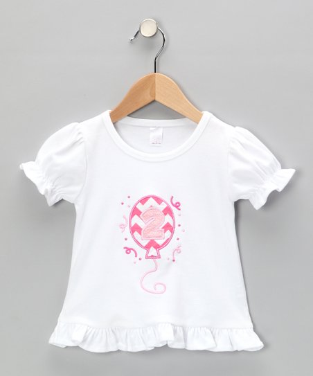 White Ruffle Birthday Balloon Tee - Infant, Toddler & Girls