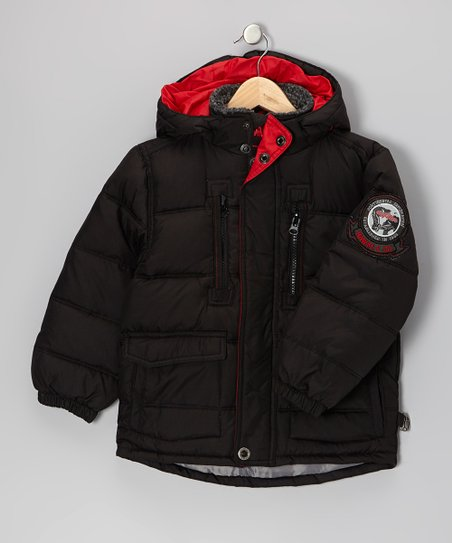 Black Down Puffer Coat - Boys
