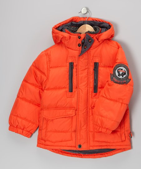 Orange Campfire Down Puffer Coat - Boys