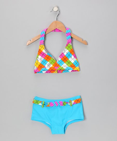Turqouise Rainbow Plaid Bikini
