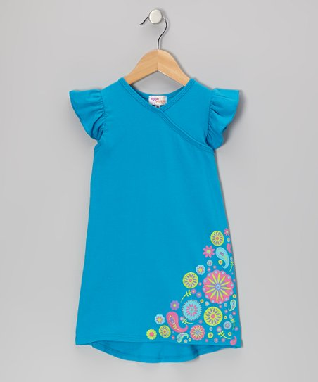 Turquoise Flower Nannette Dress - Infant, Toddler & Girls