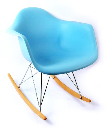 Blue Mid-Century Rocking Chair
